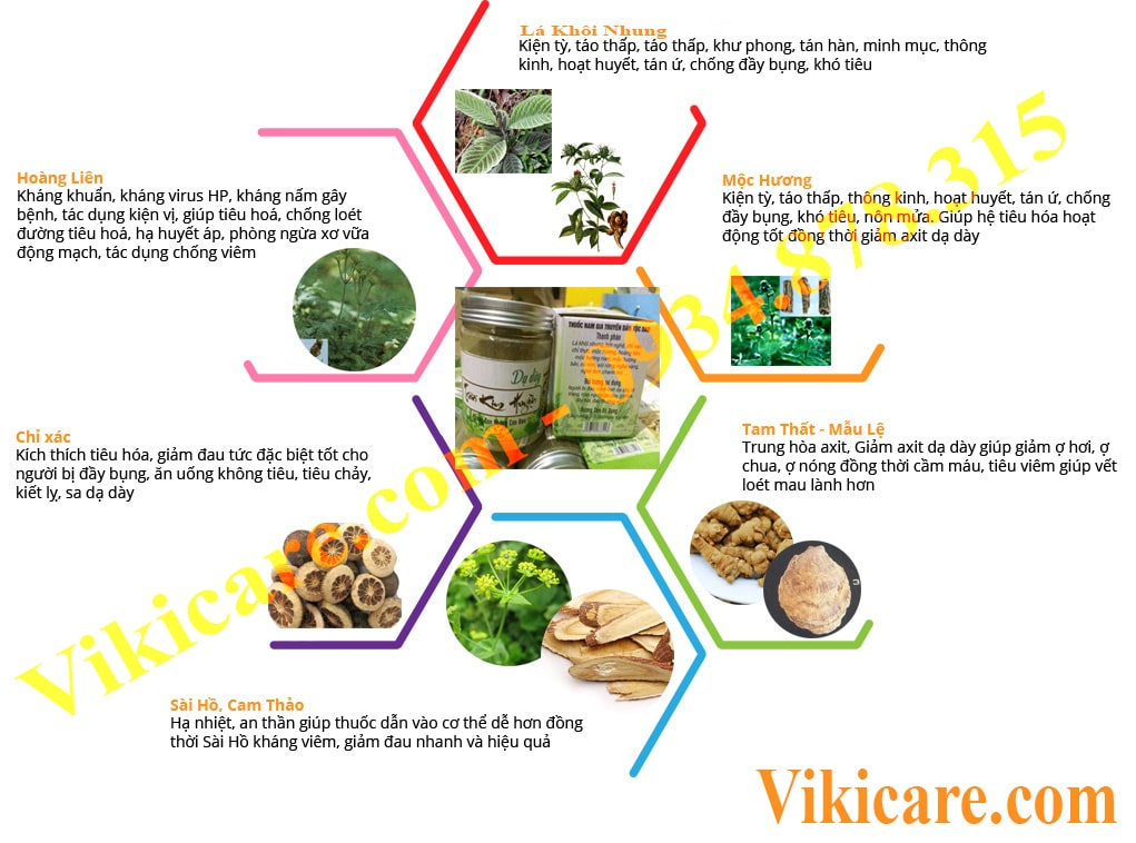 Thành phần thuốc trị đau dạ dày - thuốc dạ dày - thuốc chữa đau dạ dày Trần Kim Huyền